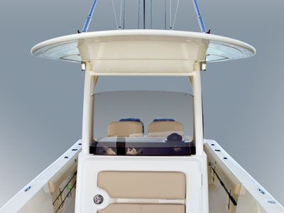 Detail shot looking aft at center console and hardtop
