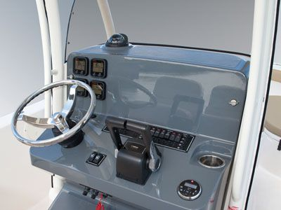 Detail shot of command console with steering and controls