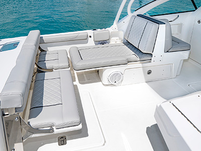 A view of cockpit seating on the 25' DC 246 Pursuit Dual Console Boat.