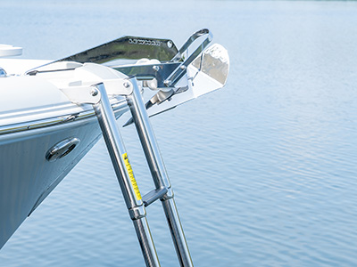 A bow beach boarding ladder extends from the anchor locker of a DC 246 Pursuit dual console boat.
