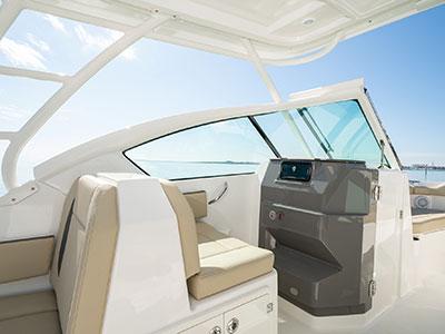 Bridge seating in Pursuit DC 266 dual console boat.