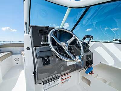 Helm of Pursuit DC 266 dual console boat.