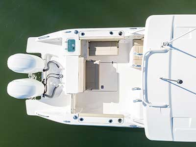 Aerial top view of cockpit social zone of Pursuit DC 266 dual console boat.