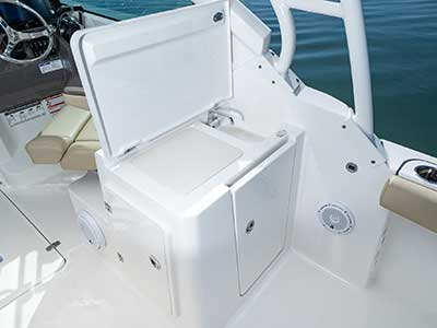Molded entertainment center with sink on Pursuit DC 266 dual console boat.