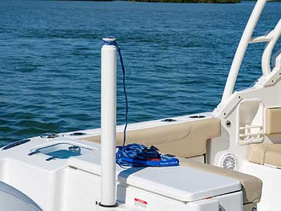 Ski tow bar on Pursuit DC 266 dual console boat.
