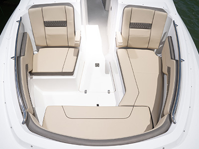 Forward bow seating and entertainment area of Pursuit DC 295