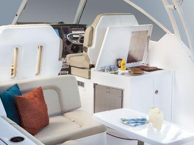 Pursuit DC 325 cockpit and bridge deck social zone