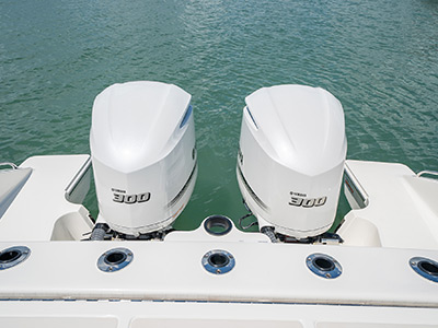 Aerial detail view of transom rod holders.