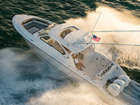 Aerial view of white Pursuit DC 365 dual console boat.