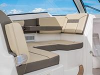 Pursuit DC 365 dual console boat bridge lounge seating.