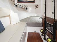 Pursuit DC 365 dual console boat port side interior.