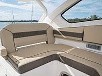 Pursuit DC 365 dual console boat bridge lounge seat.