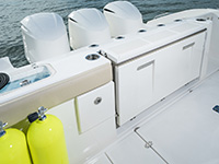 Pursuit DC 365 dual console boat transom with 3 engines.