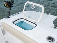 Pursuit DC 365 dual console boat transom livewell.