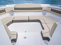 Pursuit DC 365 dual console boat bow social zone.