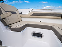 Pursuit DC 365 dual console boat forward seating.
