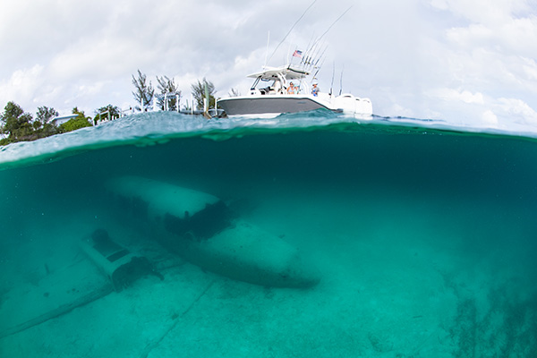 Water line profile view of S368 with airplane wreckage under water