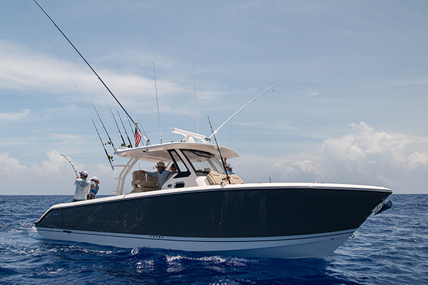 Profile view of group fishing from cockpit of S368