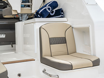 Detail view of OS 355 Molded Starboard Aft Facing Seat with Insulated Storage Below.