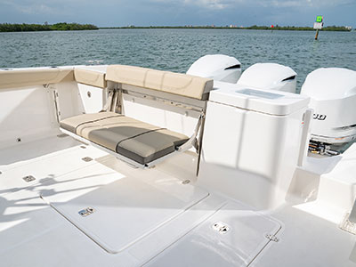 Detail view of OS 355 folding transom seating.