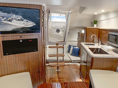 Detail view of OS 355 Offshore luxury Galley area.