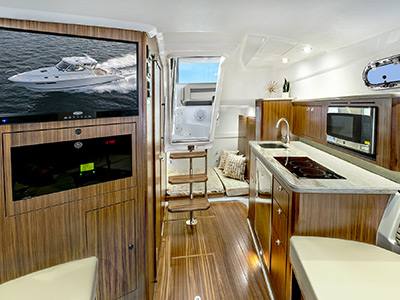 Detail view of OS 355 Cabin Galley area with luxury appointments.