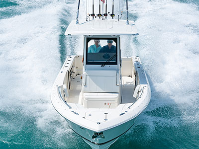 Aerial front view of white S 268 Sport center console boat.