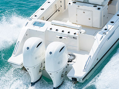 Aerial detail view of white S 268 twin Yamaha F200 Outboard Engines.