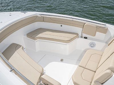 Aerial detail view of the S 288 Sport boat forward seating.