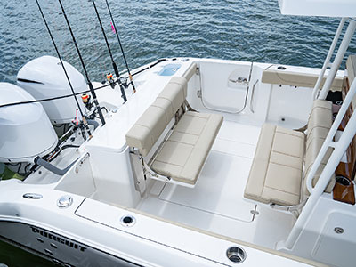 Detail aerial view of S288 Sport boat cockpit with aft and transom seats.