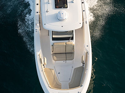 Full frame Aerial view of the S 288 Sport boat forward seating.