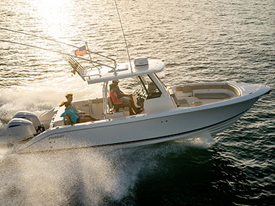 Aerial profile view of the S 288 Sport boat running right.