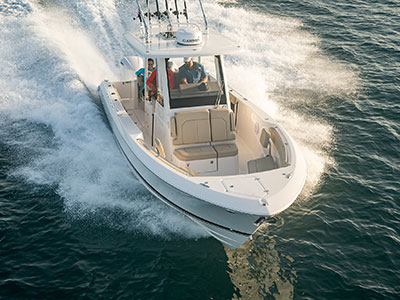Aerial one quarter front view of S 288 Sport boat running right.