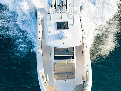 Aerial view looking down on the hardtop of the S 288 Sport boat.