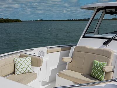 Full frame bow seating of S 328 Sport boat.