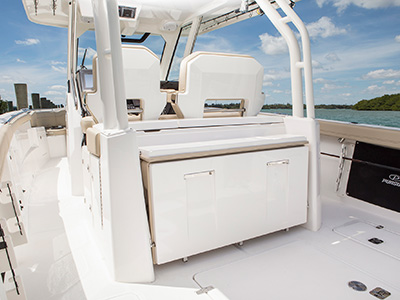 S 328 Sport boat folding aft facing seat closed.