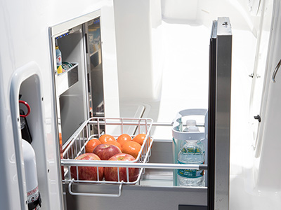 S 328 Sport boat stainless steel drawer refrigerator.