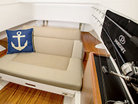S 328 Sport boat cabin berth converted to an aft facing seat.