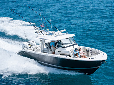The S 358 Pursuit Center Console Sport Boat running offshore.