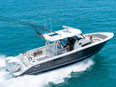Pursuit Boats S 358 Sport Center Console Boat running right in saltwater.