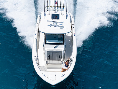 The Pursuit Boats all new S 358 Sport boat running towards us offshore is the perfect fishing boat.
