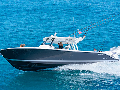 A side view of the Pursuit's S 358 Center Console running offshore.