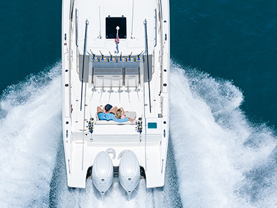 An aerial view of Pursuit Boats all new S 358 Sport boat with twin Yamaha engines.