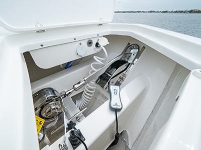 The anchor locker of a Pursuit Boat S 358 Sport Center Console boat.