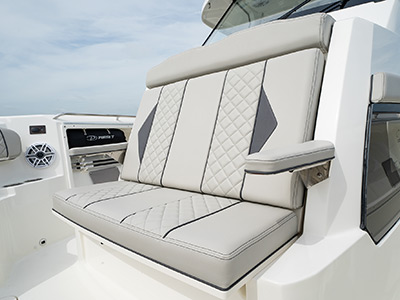 Bow seating on a Pursuit Boat S 358 Sport Center Console boat.