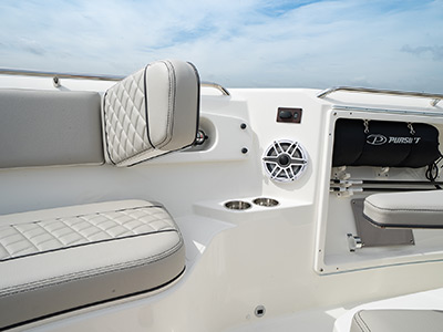 Bow seating on Pursuit Boat S 358 Sport Center Console boat with electric backrest.