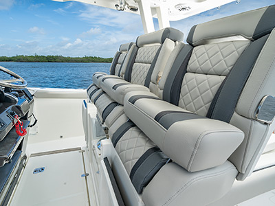 The helm seats with bolster up on Pursuit Boat's S 358 Sport Center Console boat.