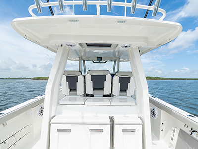 Mezzanine seats and a closed entertainment center on the S 358 Sport Center Console boat.