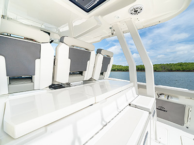 Mezzanine seats and a closed entertainment center on the Pursuit Boat's S 358 Sport Center Console boat.