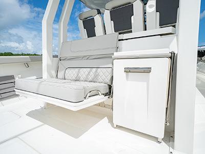 Split mezzanine seats on the Pursuit S 358 Sport Center Console boat.